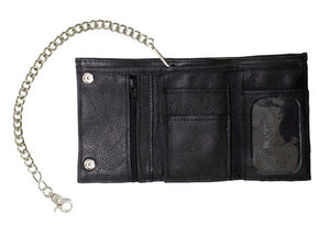 Black Naked Cowhide Leather Trifold Chain Wallet W/ Snaps AC52-11