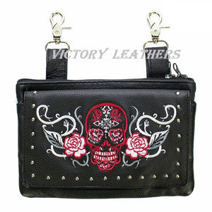 Women's Studded Sugar Skull Naked Cowhide Leather Belt Bag ( Multi Colors ) BAG35-EBL14