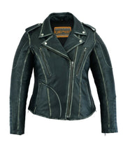 Load image into Gallery viewer, Women's Leather Motorcycle Jacket Rub-Off Finish DS877