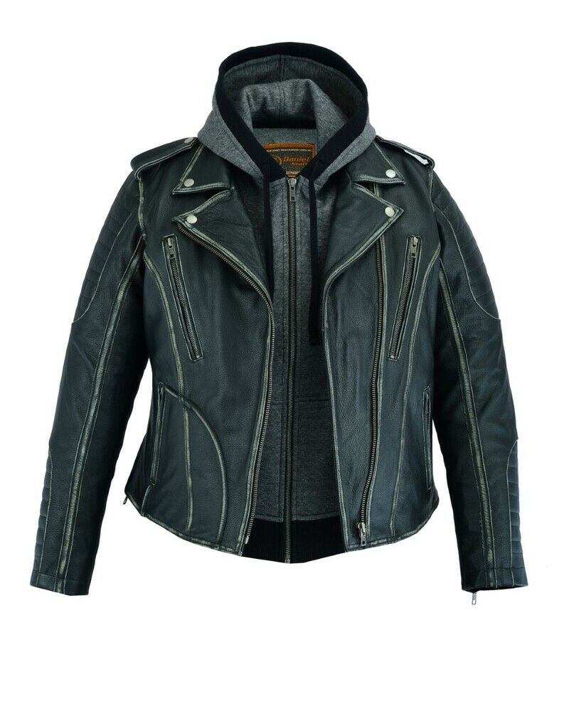 Women's Leather Motorcycle Jacket Rub-Off Finish DS877
