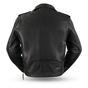 First MFG Men's Leather Classic Motorcycle Jacket ( SUPERSTAR ) FMM200BMP