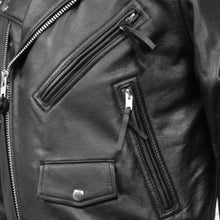 Load image into Gallery viewer, First MFG Men's Leather Classic Motorcycle Jacket ( SUPERSTAR ) FMM200BMP