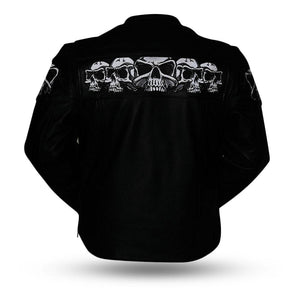 Men's Leather Jacket With Reflective Skulls ( SAVAGE SKULLS ) FIM243CSLZ
