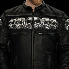 Load image into Gallery viewer, Men's Leather Jacket With Reflective Skulls ( SAVAGE SKULLS ) FIM243CSLZ