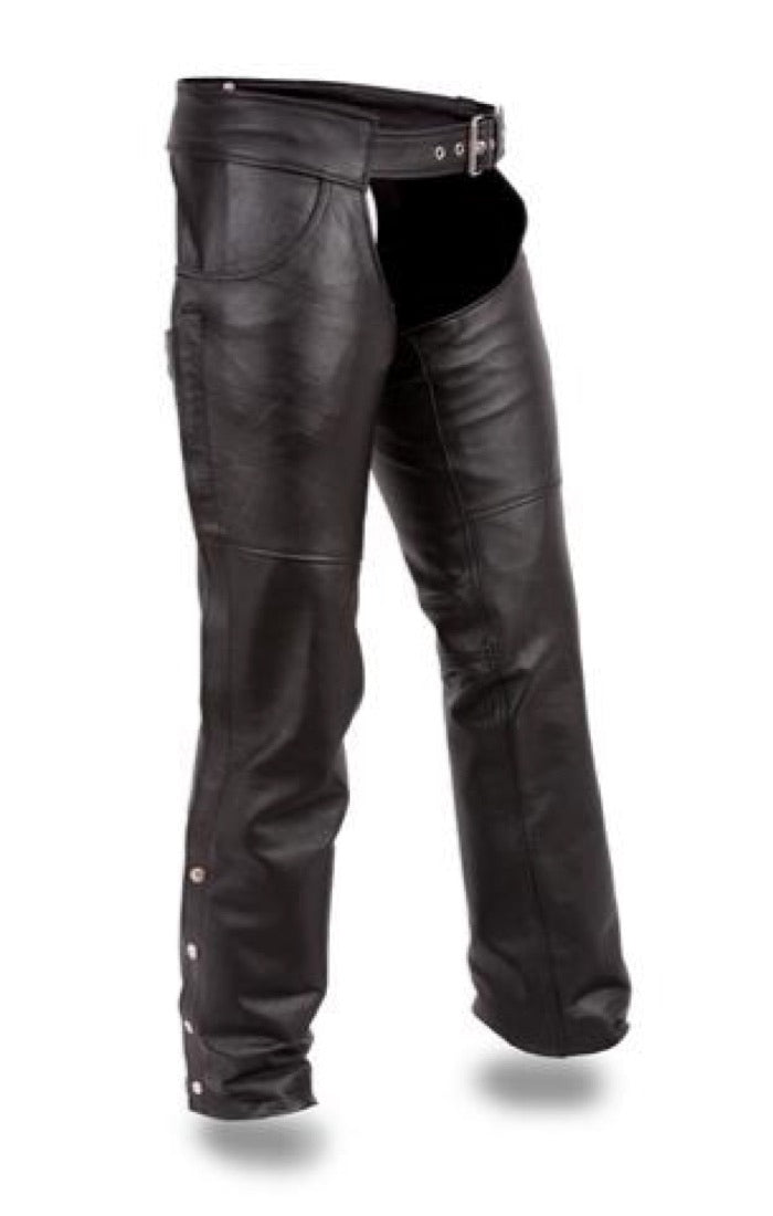 First MFG Unisex Leather Motorcycle Chaps ( RALLY ) FMM835CC