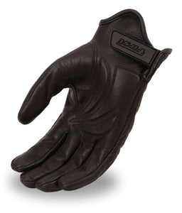 First MFG Men's Leather Reflective Skull Gloves FI137GEL