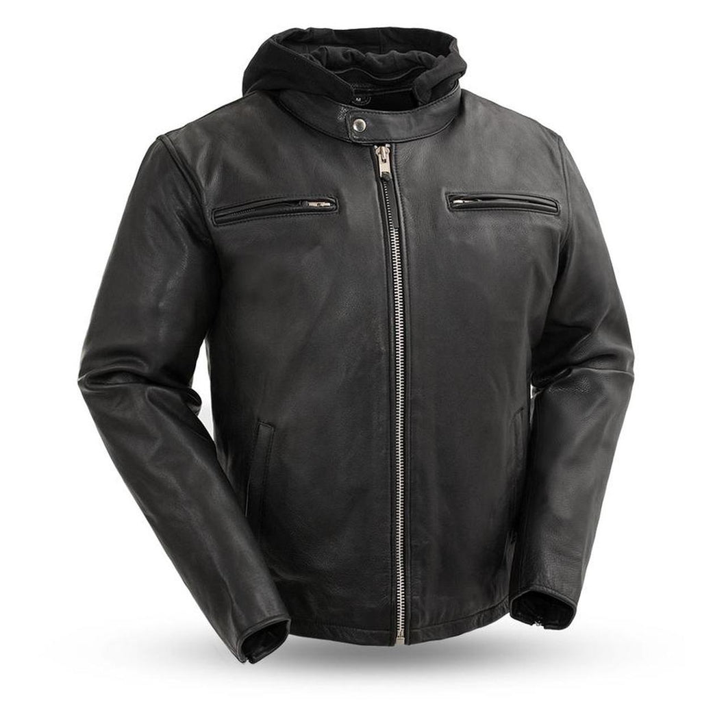 Men's Leather Jacket with Hoodie ( STREET CRUISER ) FIM248CCBZ