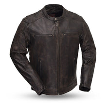 Load image into Gallery viewer, First MFG Men's Distress Black Leather Jacket ( HIPSTER ) FIM253SDC