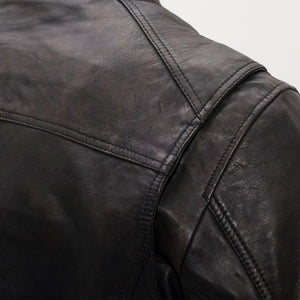 First MFG Men's Distress Black Leather Jacket ( HIPSTER ) FIM253SDC