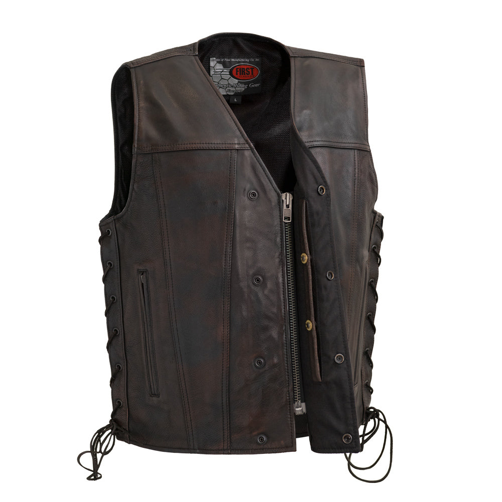 Men's Copper Leather Vest ( HIGH ROLLER ) FIM619CV