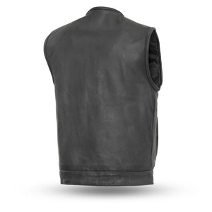 Men's Leather Vest With Carry Concealed Pockets ( NO RIVAL ) FIM639NOC