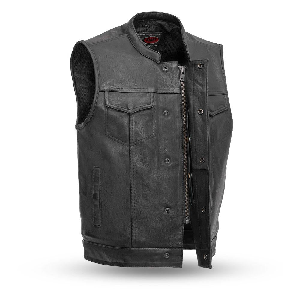 Men's Leather Motorcycle Vest ( SHARP SHOOTER ) FIM689NOC