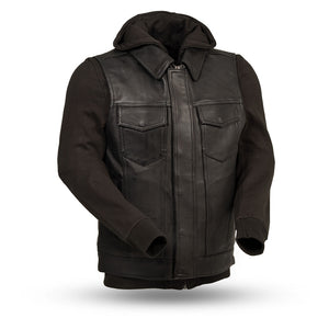 Men's Leather Vest with Sweatshirt ( KENT ) FIM697CDDH