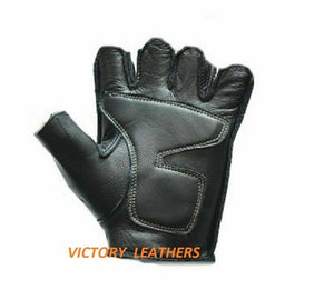 Men's Fingerless Leather Gloves with White Flames