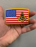 American Flag with Mason Emblem Patch ( Choice of Colors )