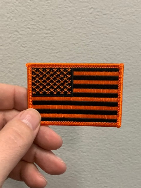 Orange & Black American Flag Patch
