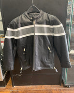 Kids Black with Grey Stripe Leather Jacket SH01