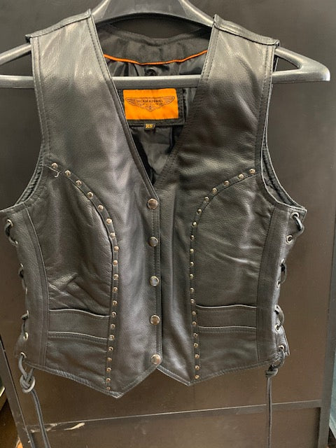 Women's Studded Leather Vest LV8504.11
