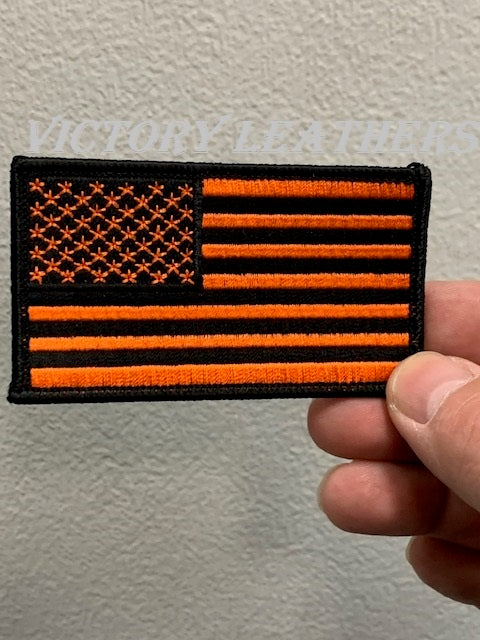 Black & Orange American Flag Patch