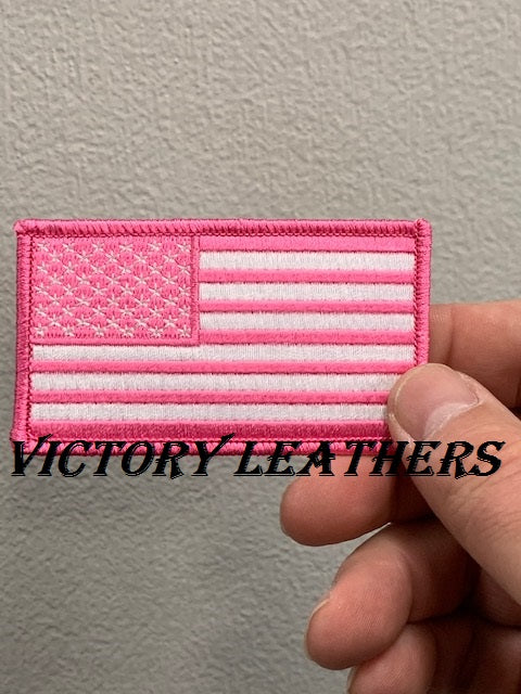 Pink & White American Flag Patch