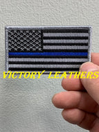 Grey Thin Blue Line American Flag Patch
