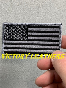 Silver & Black American Flag Patch