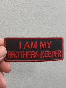 I AM MY BROTHERS KEEPR PATCH ( BLACK & RED ) Red Boarder