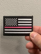 Black American Flag With Pink Line Patch