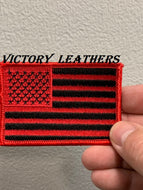 Red & Black  American Flag Patch ( Multi Sizes )