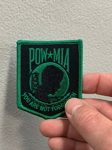 POW-MIA You are not forgotten Patch ( Black & Kelly Green )