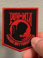 POW-MIA You are not forgotten Patch ( Black & Red ) Red Boarder