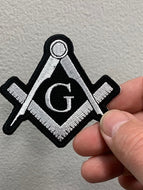 White Masonic G with Compass