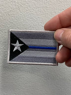 Puerto Rico Grey Blue Line Flag Patch