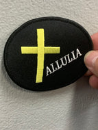 ALLULIA WITH GOLD CROSS PATCH