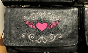 Women's Leather Hip Bag Heart With Wings ( MULTI COLORS )