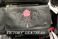 Women's Leather Hip Bag Belt Loop Purse With Rose ( Multi Colors )