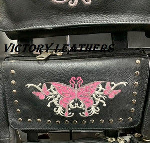 Women's Studded Butterfly Naked Cowhide Leather Belt Bag ( Multi Colors ) BAG35-EBL15