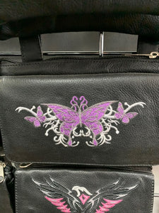 Women's Leather Hip Bag Heart With Butterflys ( MULTI COLORS )