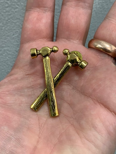 Gold Platted Double Hammer Ball Pin Biker Pin