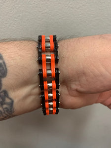 Men's Black & Orange Stainless Steel Chain Bracelet