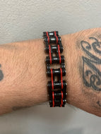 Men's Black & Red Stainless Steel Chain Bracelet