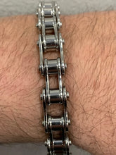 "Load image into Gallery viewer, 1/2"" Wide All Stainless Steel Unisex Stainless Steel Motorcycle Chain Bracelet"