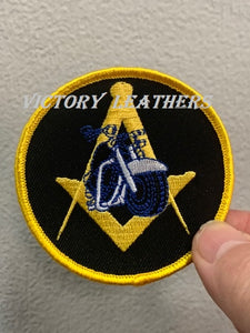 Masonic Motorcycle Compass and Square Patch