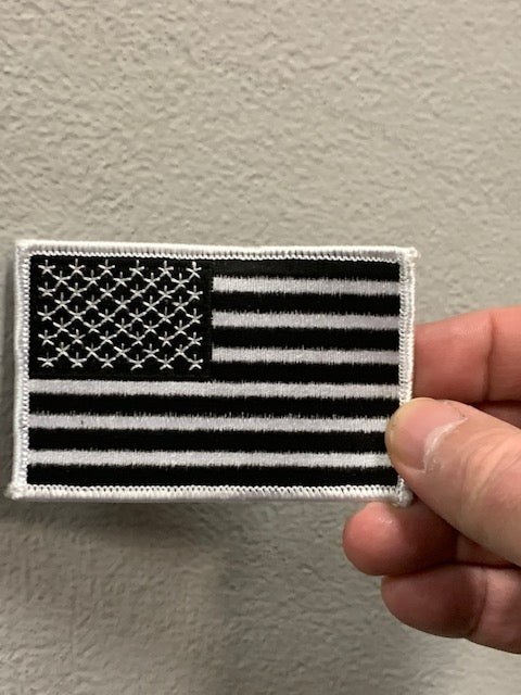 Black & White American Flag Patch  3.5