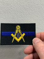 Masonic Thin Blue Line For Law Enforcement Patch