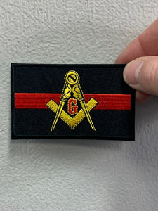 Masonic Thin Red Line For Fire Fighters Patch