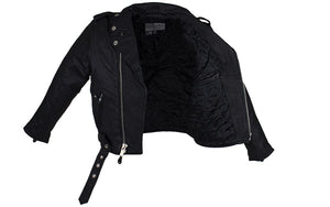 Teens Leather Motorcycle Jacket With Snap Down Collar KD342