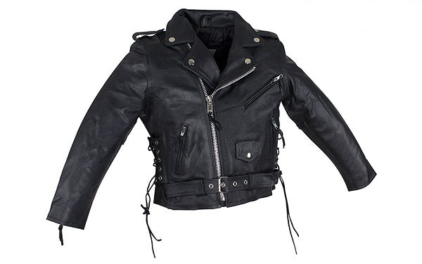 Teens Leather Motorcycle Jacket With Snap Down Collar KD344