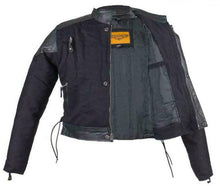 Load image into Gallery viewer, Kids Black Denim and Leather Jacket with Side Laces KD345