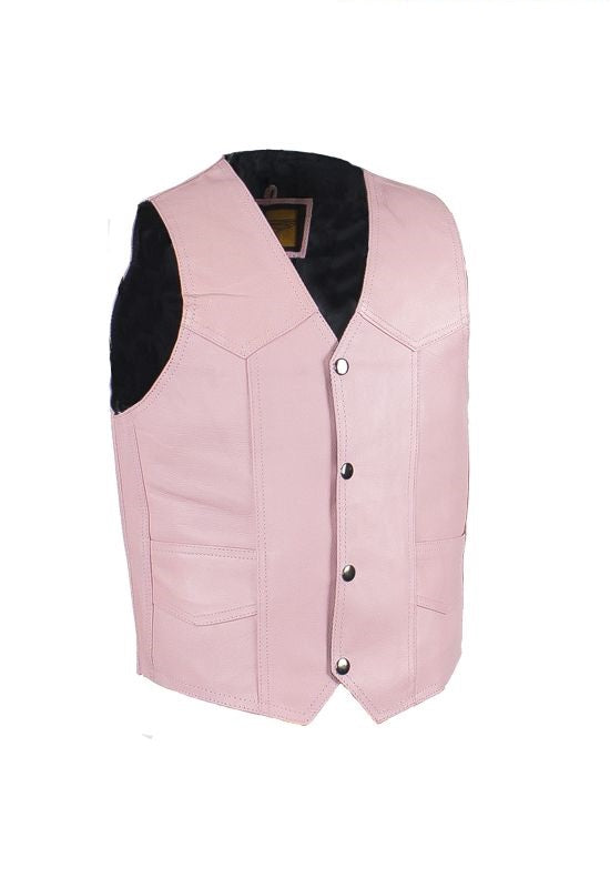 Kids Pink Leather Vest KD393